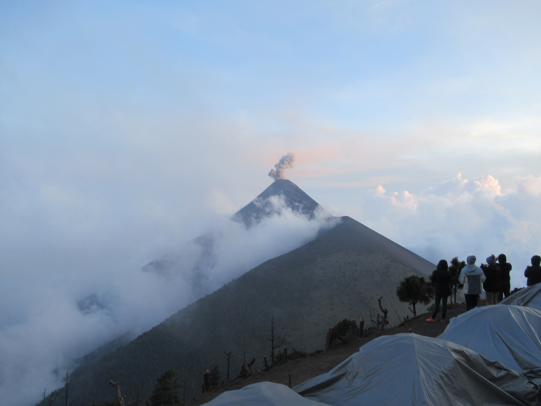 our campsite on acatenango looked over the active volcano Fuego